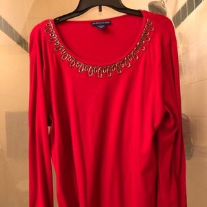 Karen Scott Bling Neckline Top